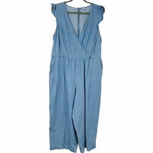 Old Navy wrap Chambray Wide leg Jumpsuit  XL